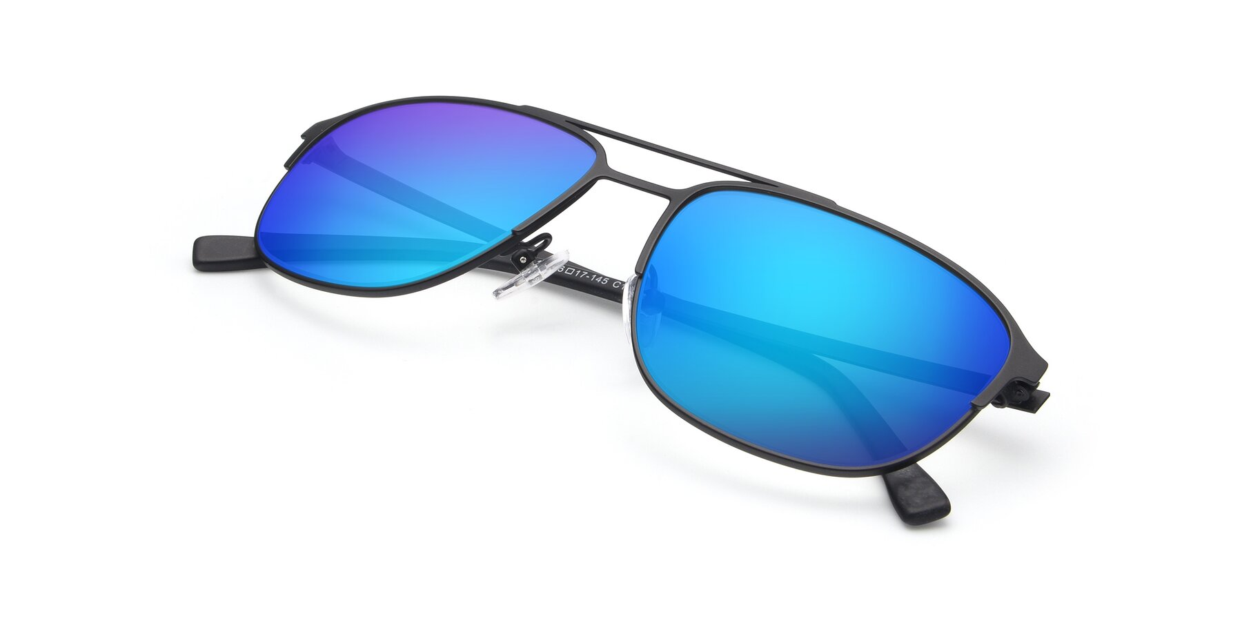 View of 9513 in Antique Black with Blue Mirrored Lenses