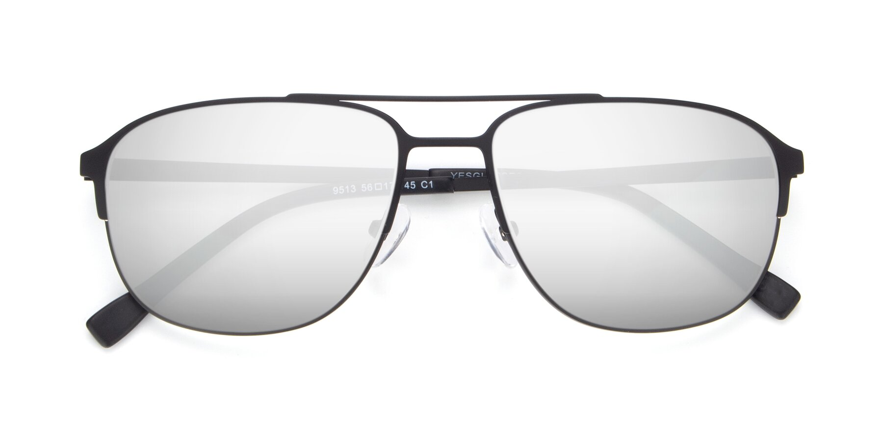 Folded Front of 9513 in Antique Black with Silver Mirrored Lenses