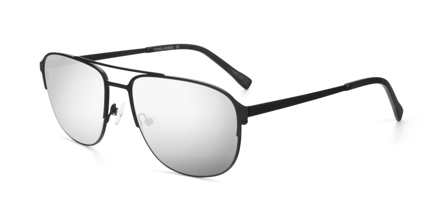 Angle of 9513 in Antique Black with Silver Mirrored Lenses