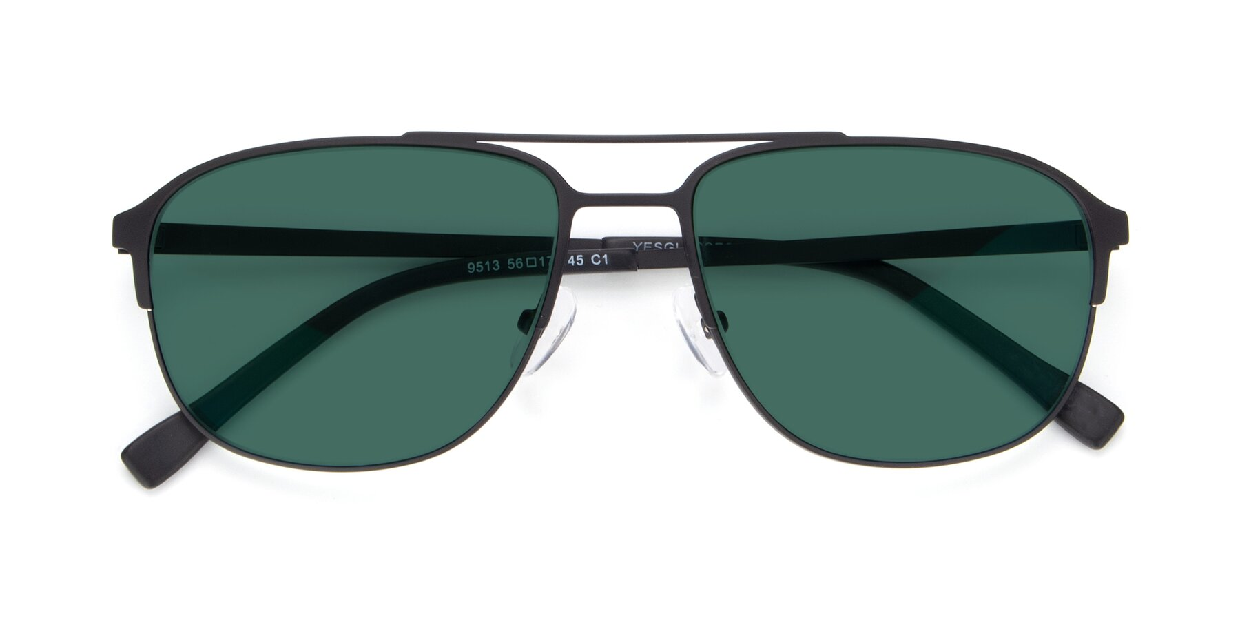 Folded Front of 9513 in Antique Black with Green Polarized Lenses