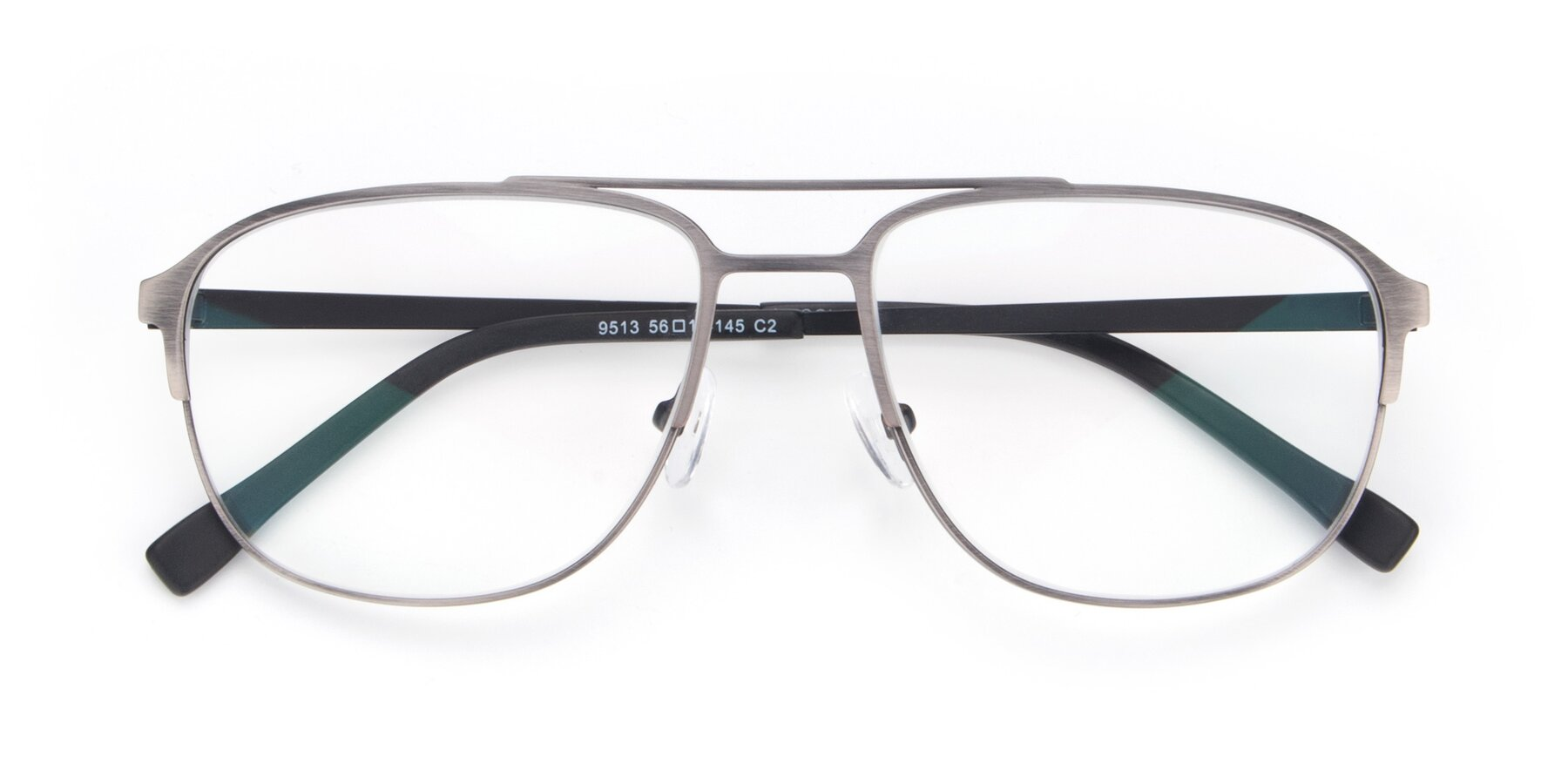 Folded Front of 9513 in Antique Silver with Clear Eyeglass Lenses