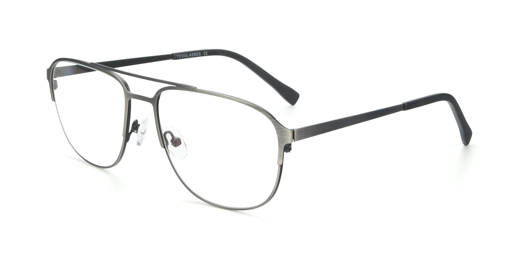 Angle of 9513 in Antique Silver with Clear Eyeglass Lenses