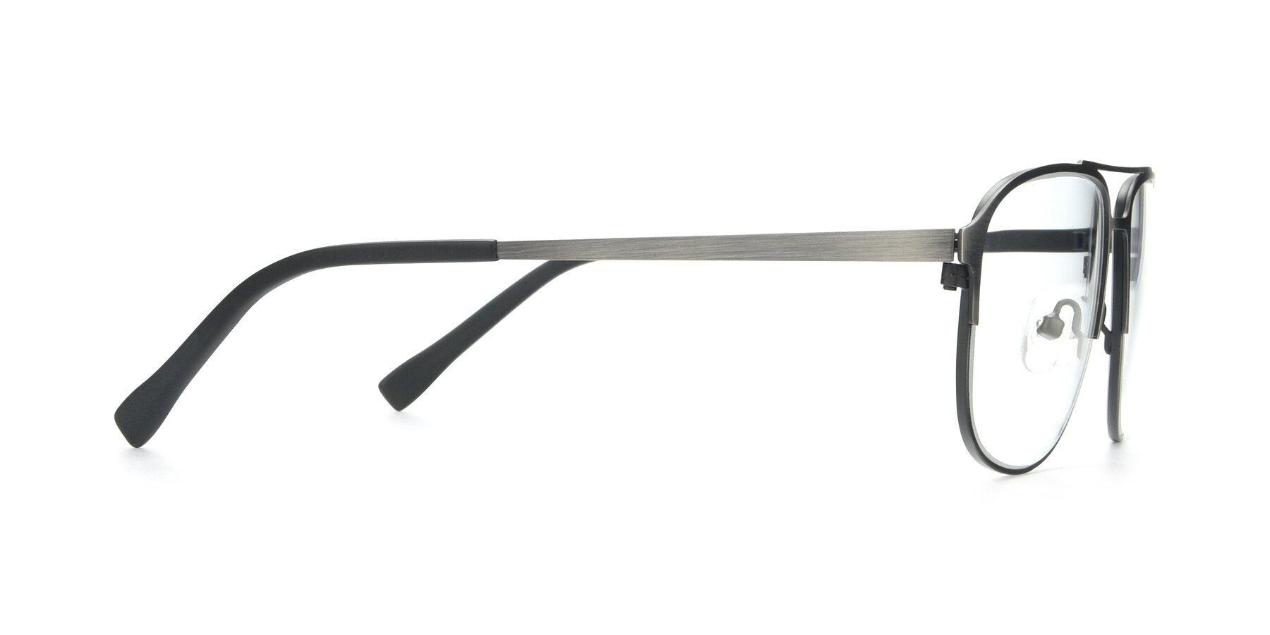 Side of 9513 in Antique Silver with Clear Eyeglass Lenses