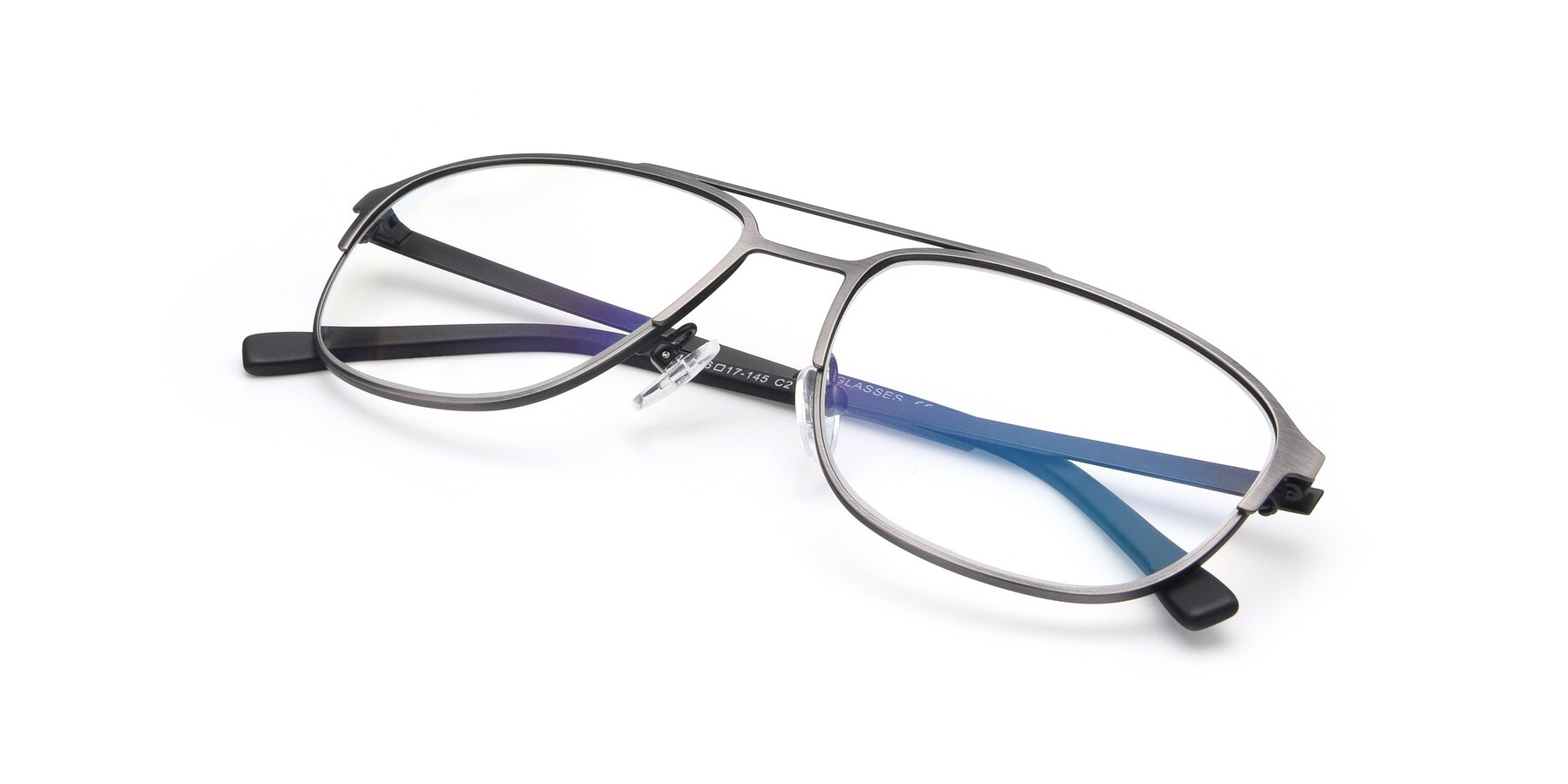 View of 9513 in Antique Silver with Clear Eyeglass Lenses
