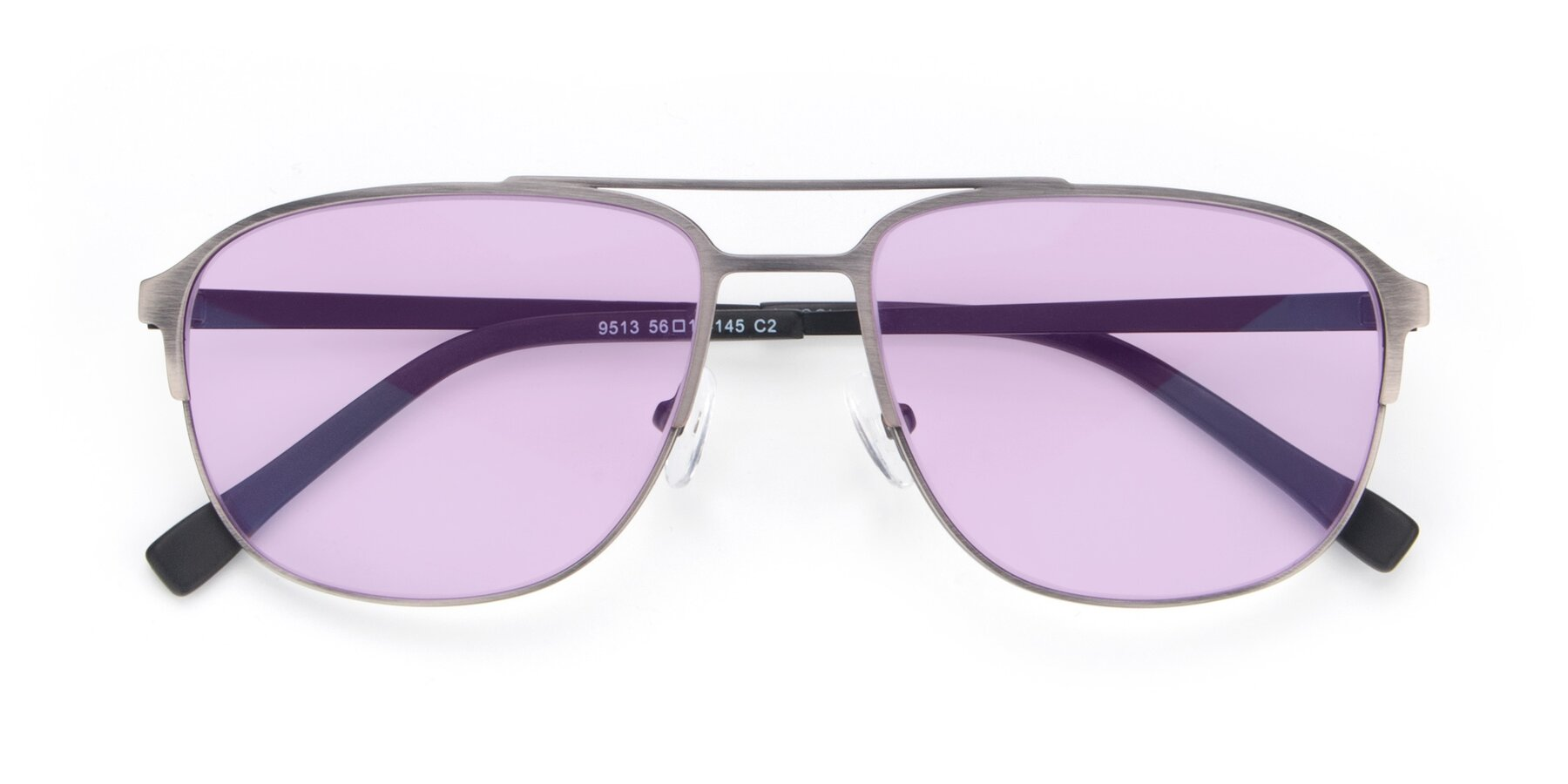 Folded Front of 9513 in Antique Silver with Light Purple Tinted Lenses