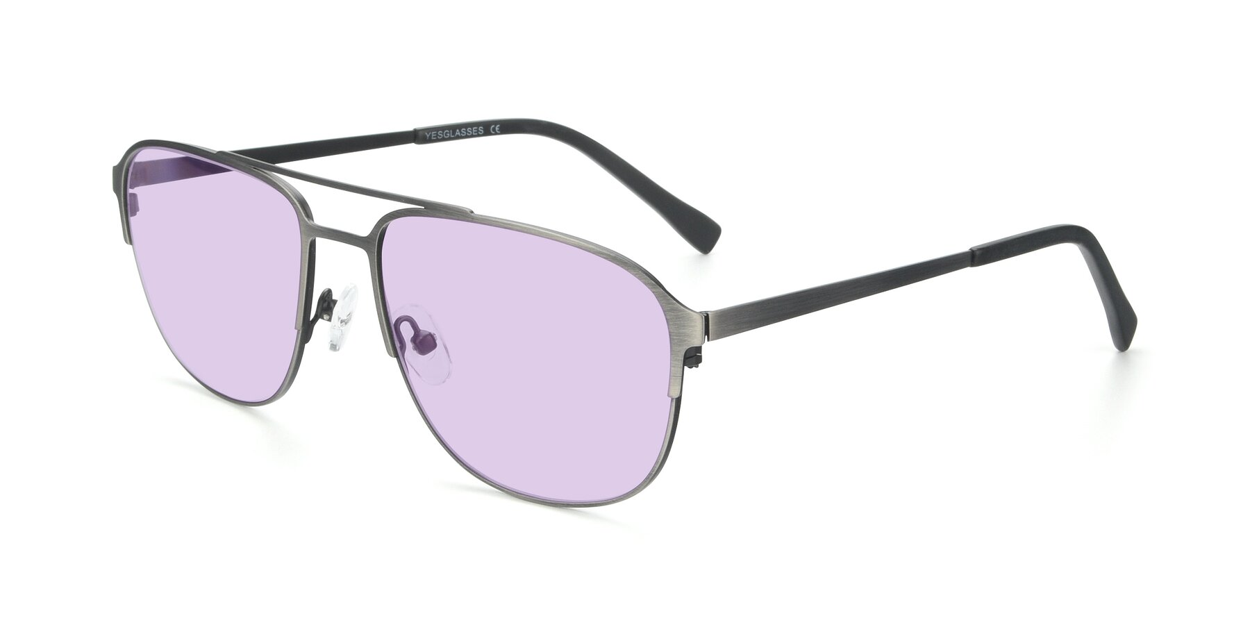 Angle of 9513 in Antique Silver with Light Purple Tinted Lenses