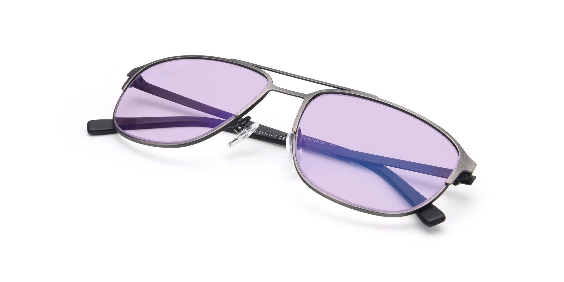 View of 9513 in Antique Silver with Light Purple Tinted Lenses