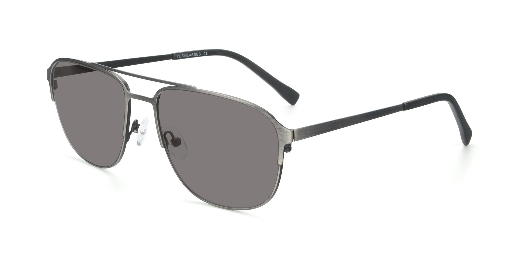 Angle of 9513 in Antique Silver with Medium Gray Tinted Lenses