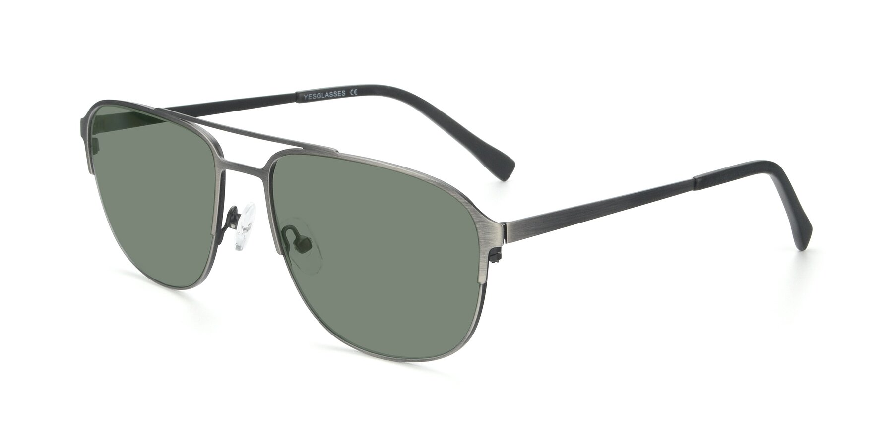 Angle of 9513 in Antique Silver with Medium Green Tinted Lenses