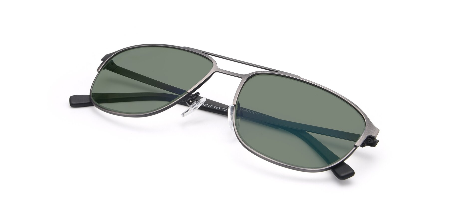 View of 9513 in Antique Silver with Medium Green Tinted Lenses