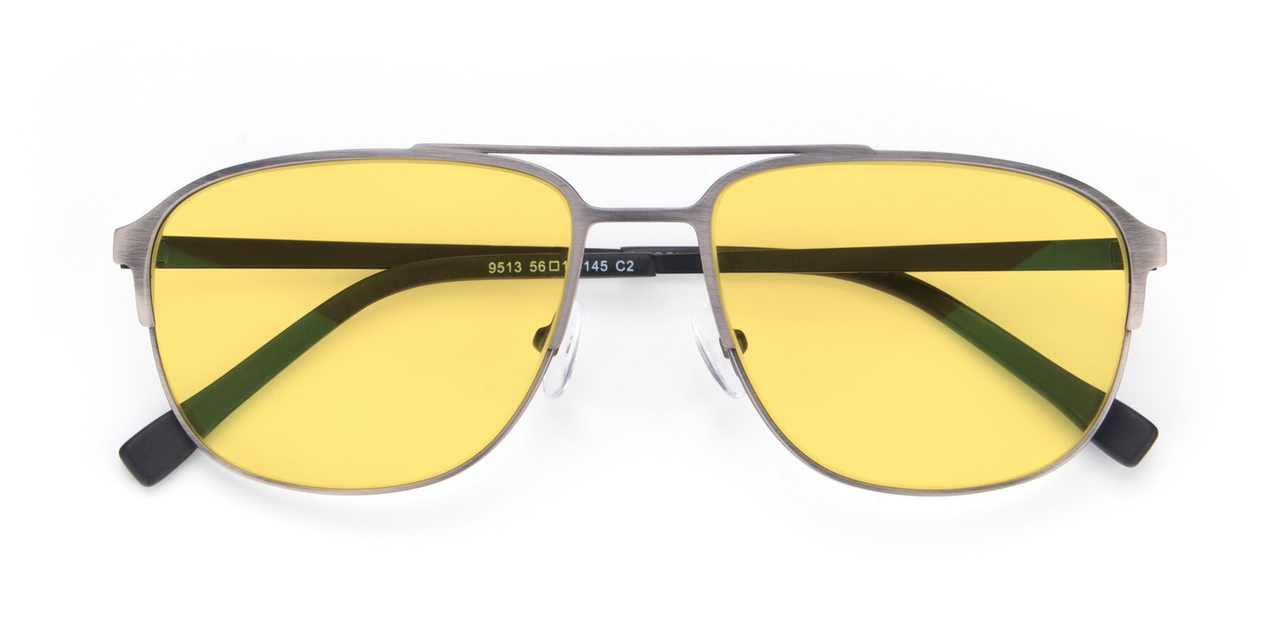 Folded Front of 9513 in Antique Silver with Medium Yellow Tinted Lenses