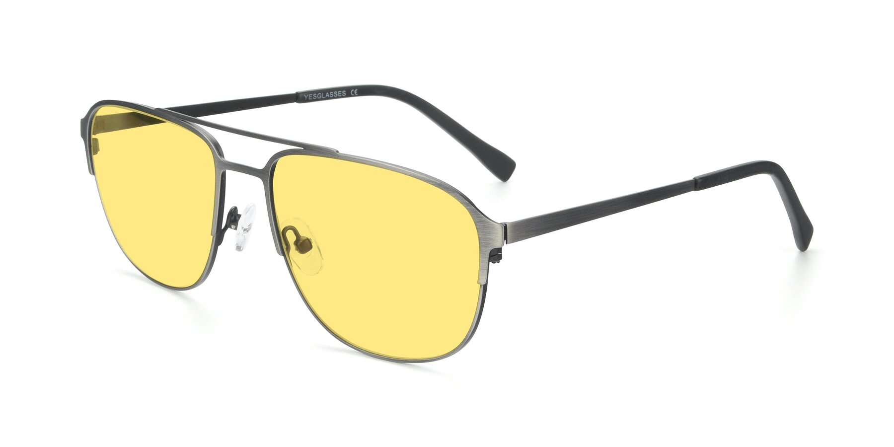 Angle of 9513 in Antique Silver with Medium Yellow Tinted Lenses