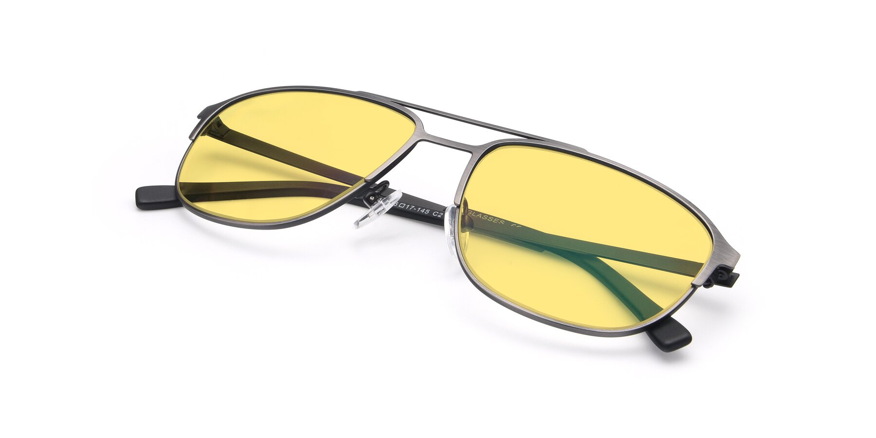 View of 9513 in Antique Silver with Medium Yellow Tinted Lenses