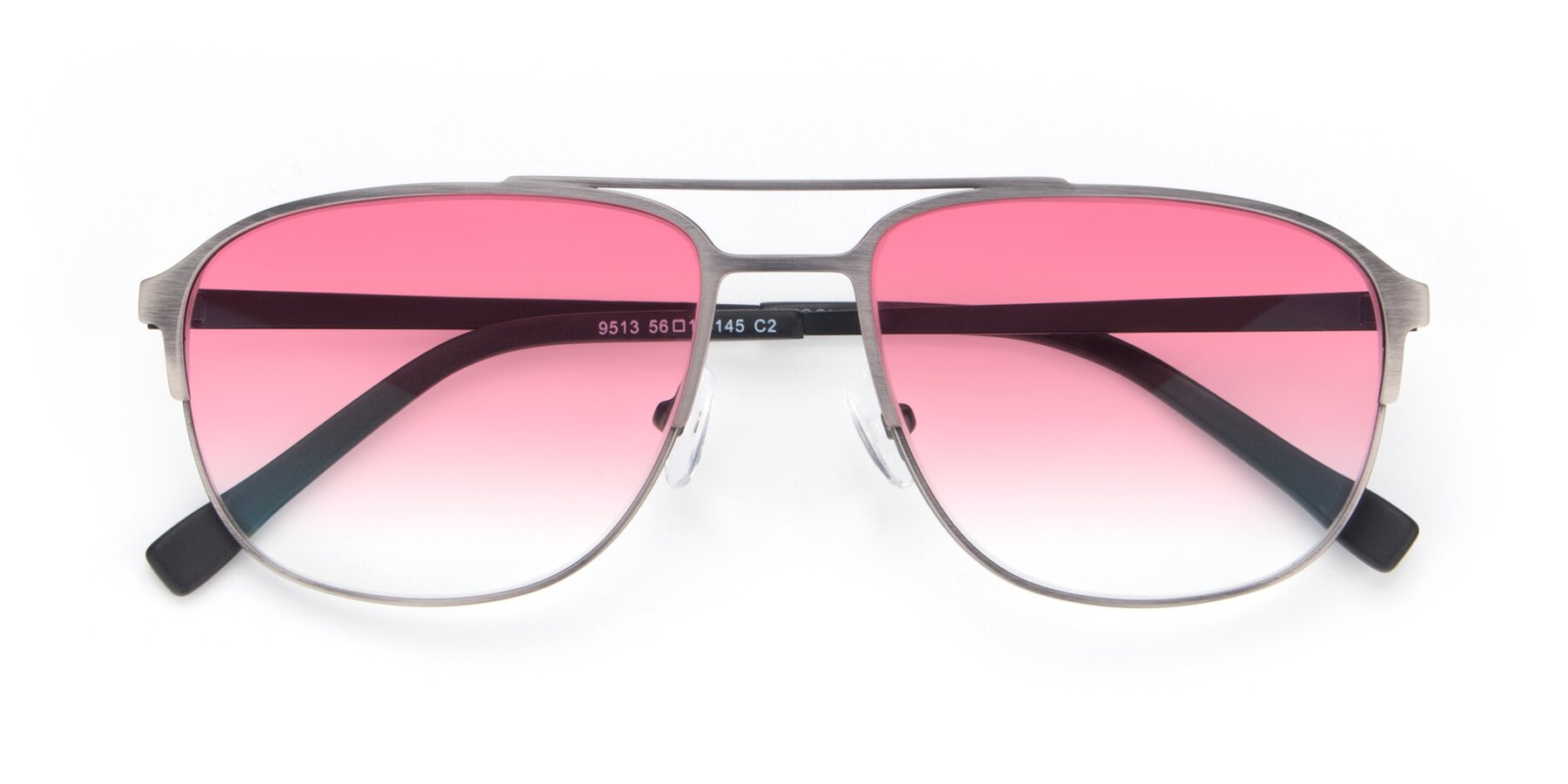Folded Front of 9513 in Antique Silver with Pink Gradient Lenses