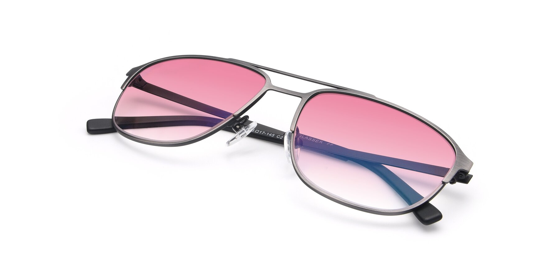 View of 9513 in Antique Silver with Pink Gradient Lenses