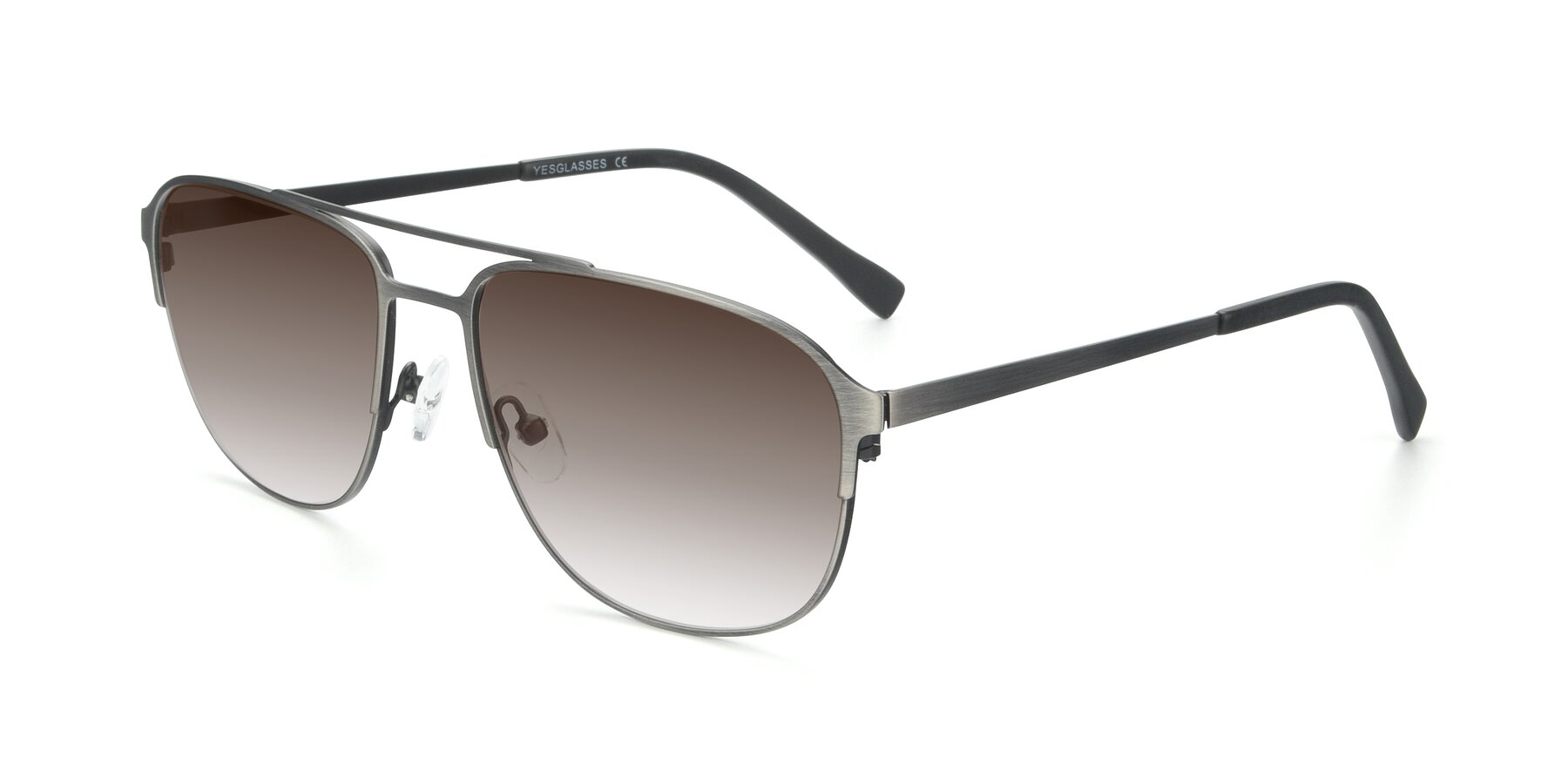 Angle of 9513 in Antique Silver with Brown Gradient Lenses