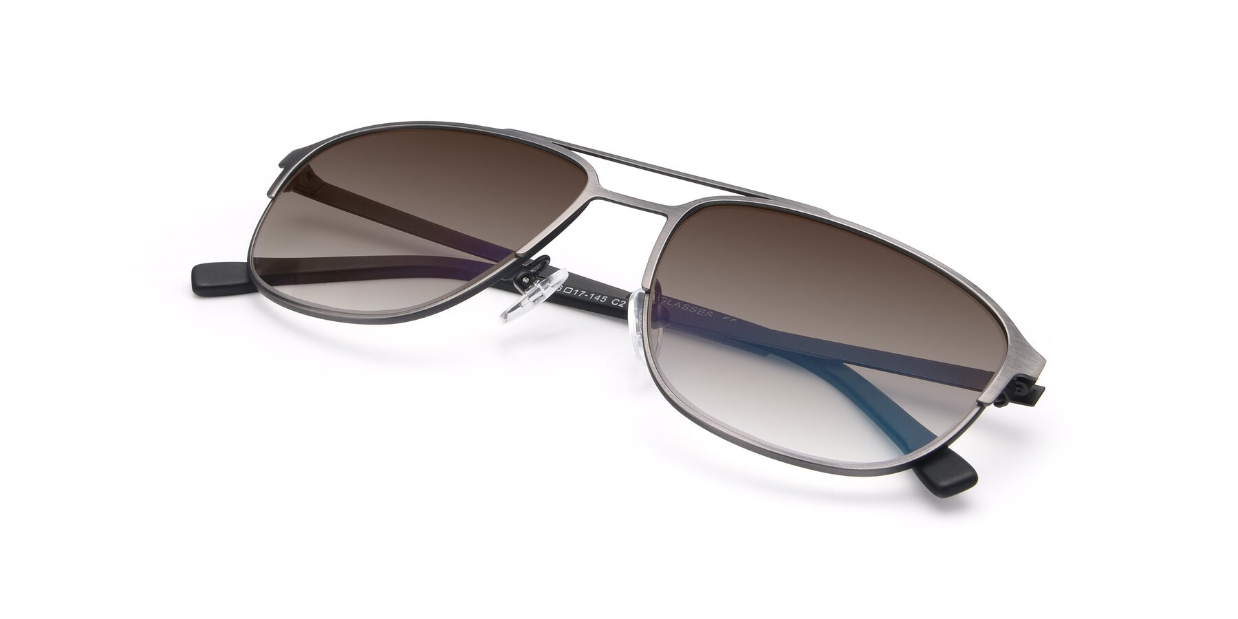View of 9513 in Antique Silver with Brown Gradient Lenses