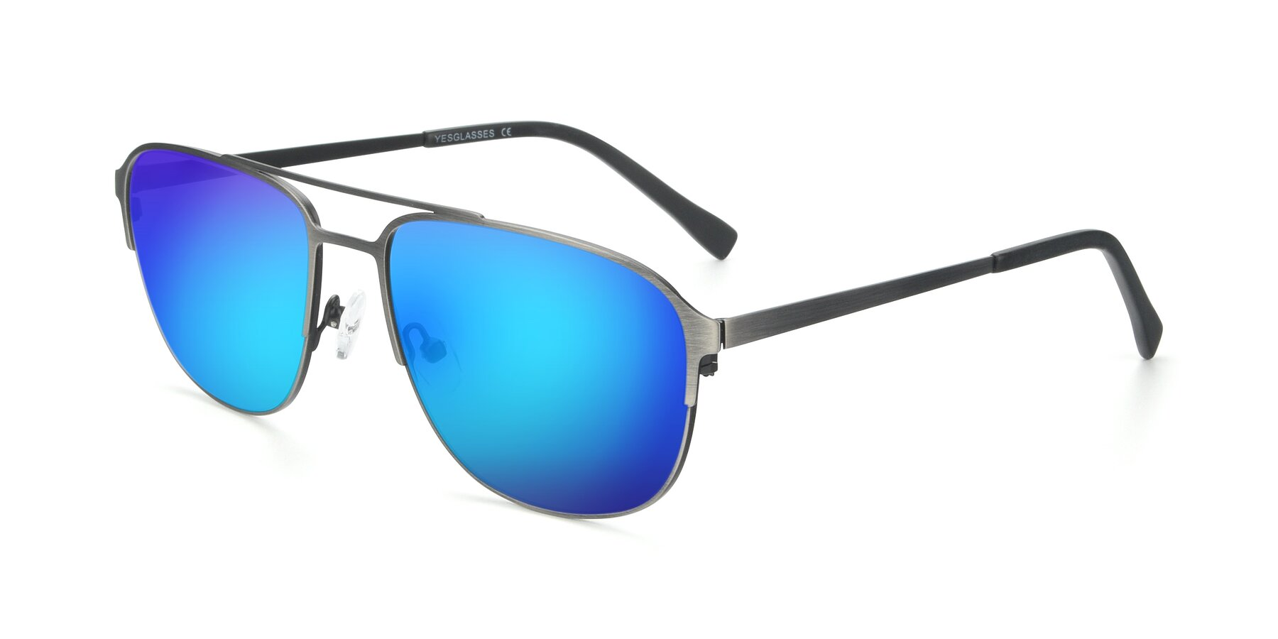 Angle of 9513 in Antique Silver with Blue Mirrored Lenses