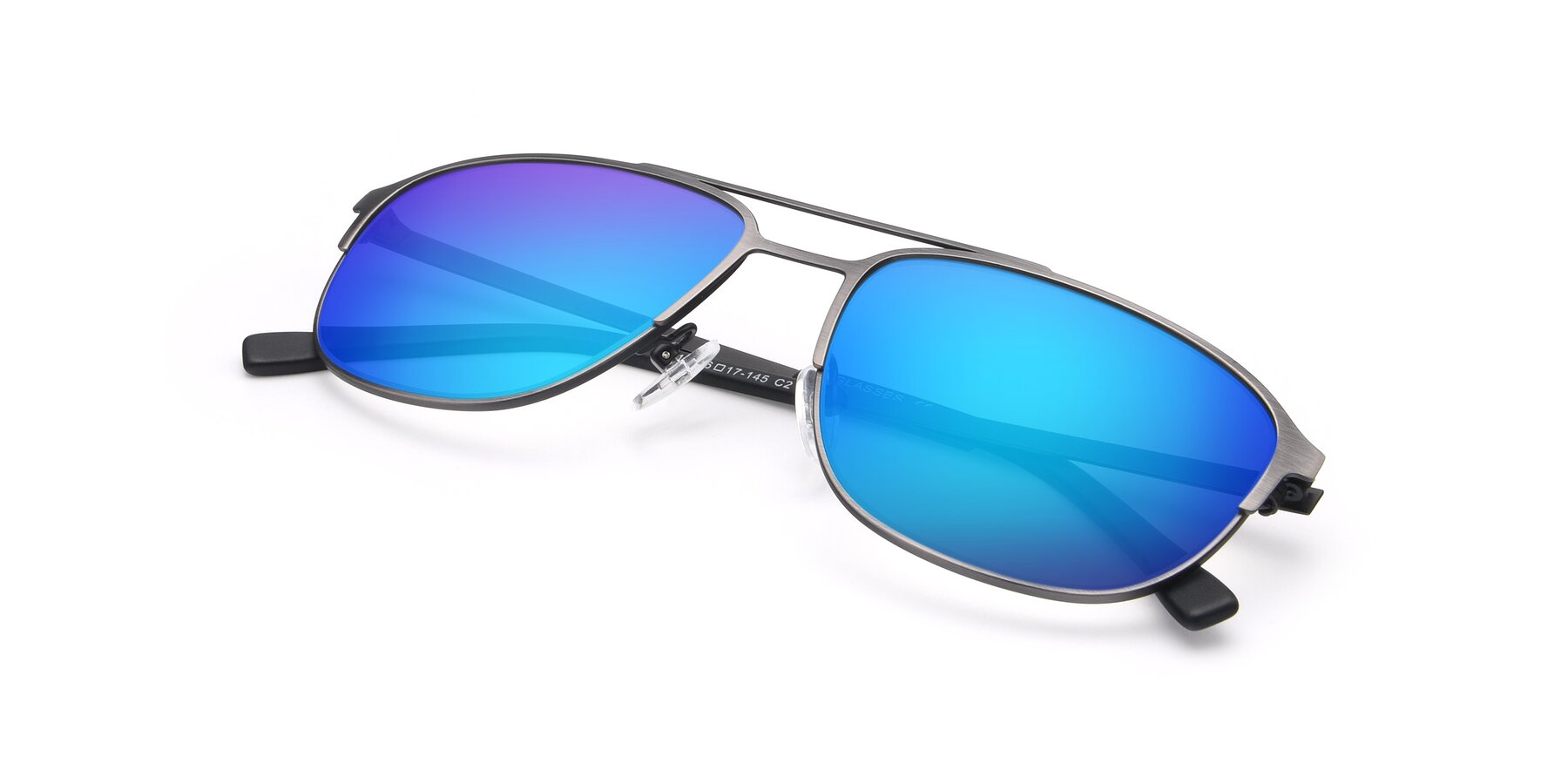 View of 9513 in Antique Silver with Blue Mirrored Lenses