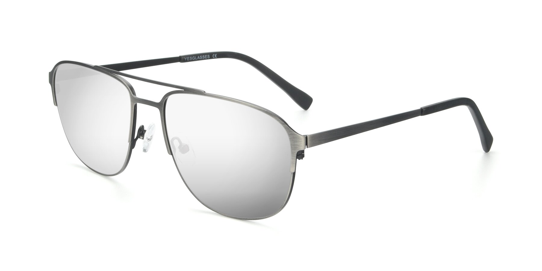 Angle of 9513 in Antique Silver with Silver Mirrored Lenses