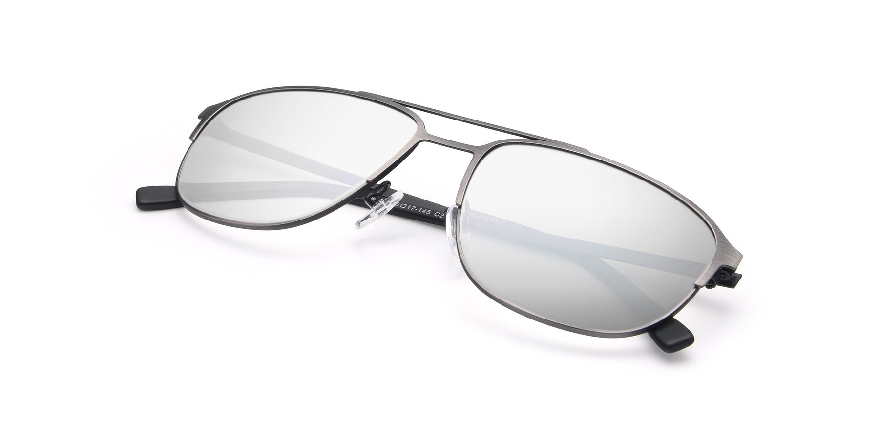 View of 9513 in Antique Silver with Silver Mirrored Lenses