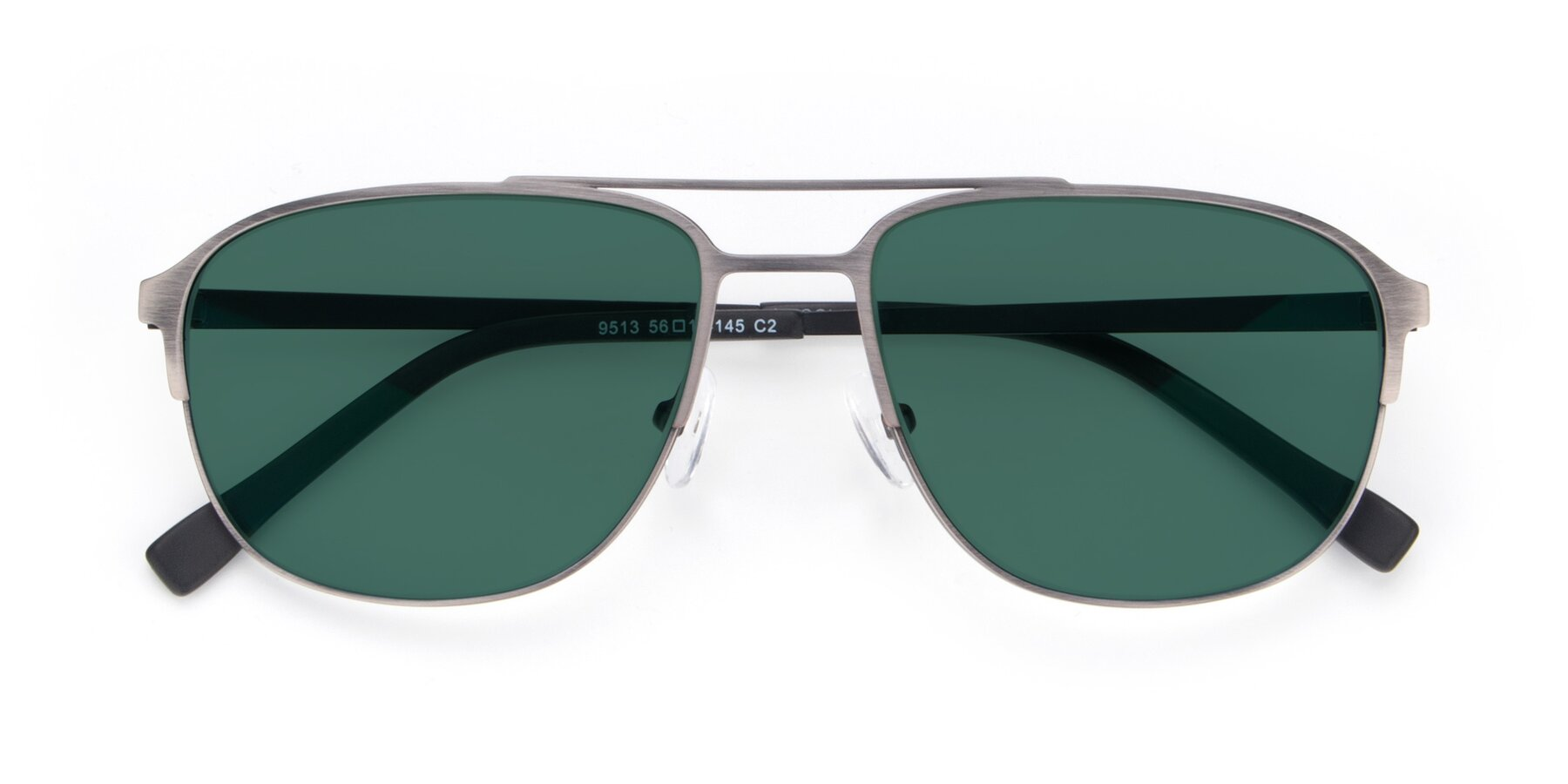 Folded Front of 9513 in Antique Silver with Green Polarized Lenses