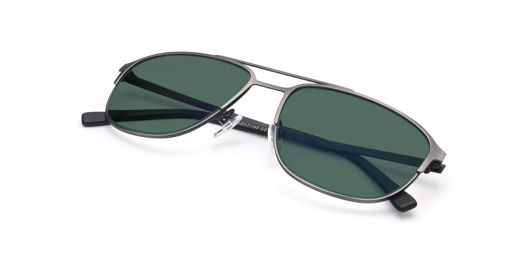 View of 9513 in Antique Silver with Green Polarized Lenses