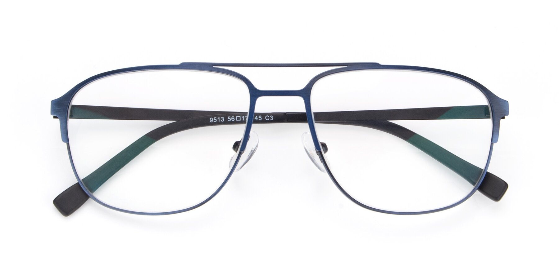 Folded Front of 9513 in Antique Blue with Clear Blue Light Blocking Lenses