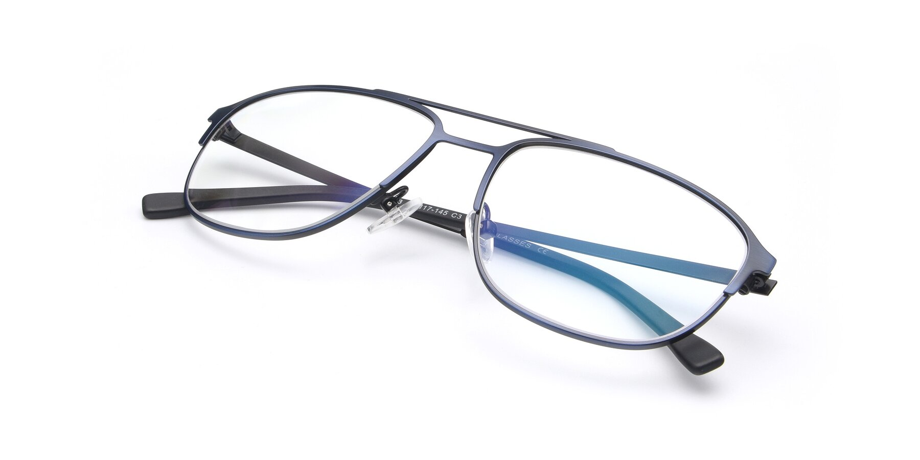 View of 9513 in Antique Blue with Clear Blue Light Blocking Lenses