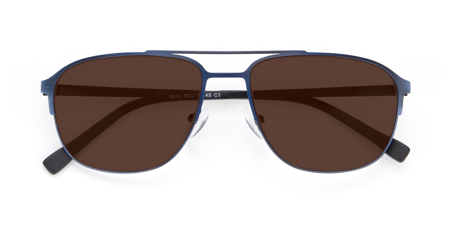 Folded Front of 9513 in Antique Blue with Brown Tinted Lenses