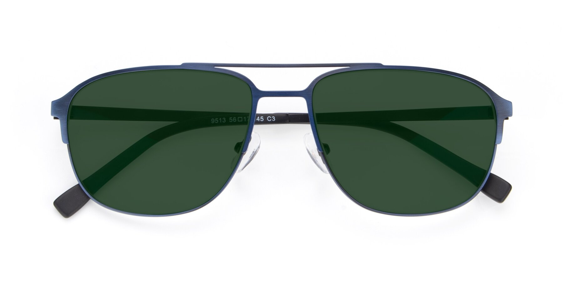 Folded Front of 9513 in Antique Blue with Green Tinted Lenses