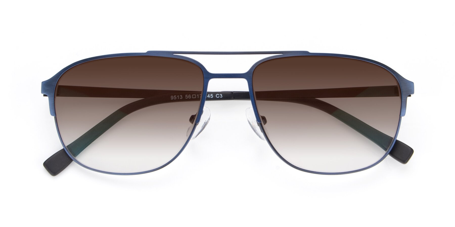 Folded Front of 9513 in Antique Blue with Brown Gradient Lenses
