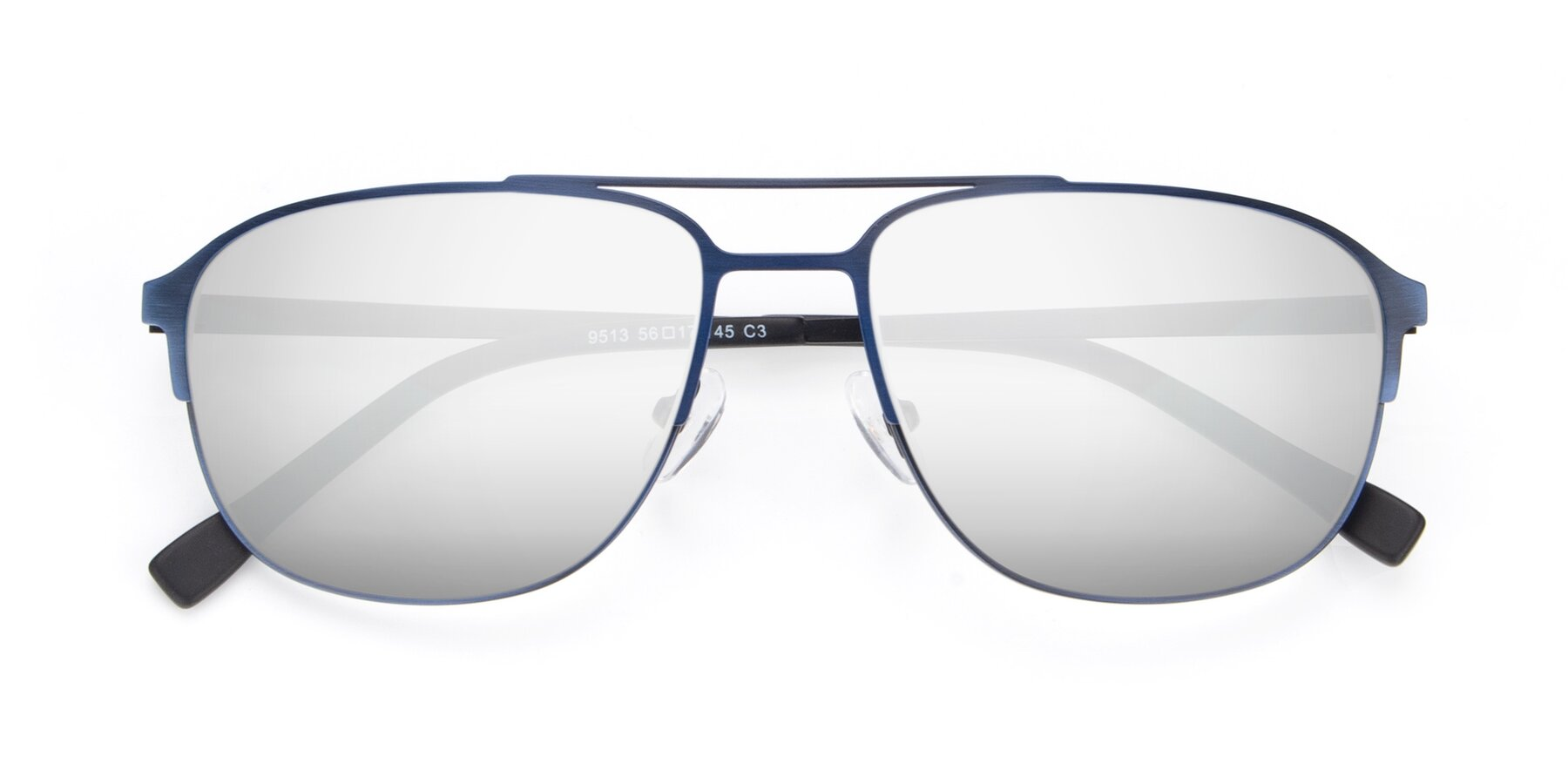 Folded Front of 9513 in Antique Blue with Silver Mirrored Lenses