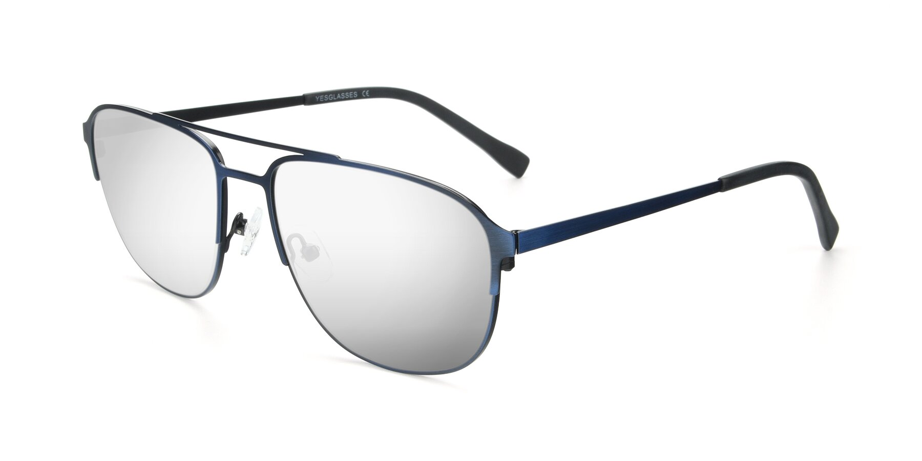 Angle of 9513 in Antique Blue with Silver Mirrored Lenses