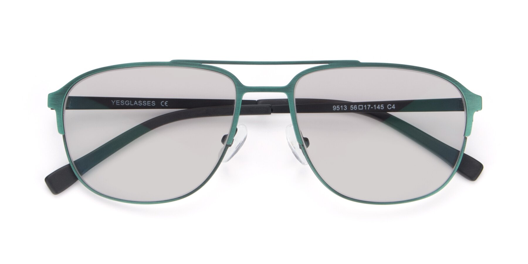 Folded Front of 9513 in Antique Green with Light Gray Tinted Lenses