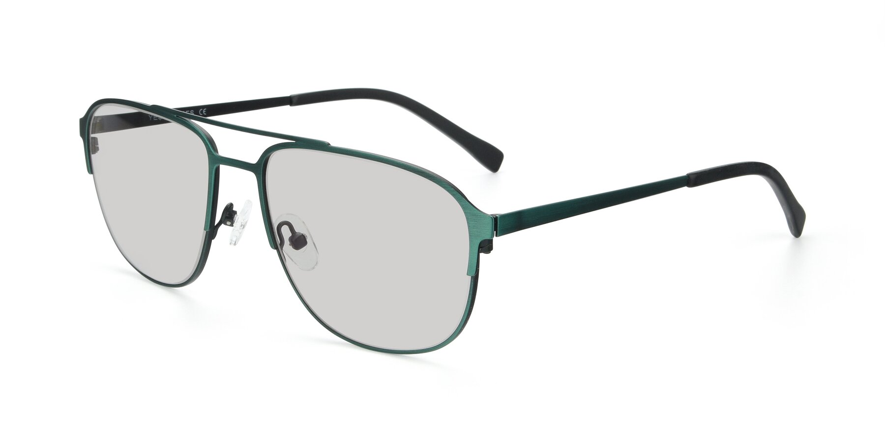 Angle of 9513 in Antique Green with Light Gray Tinted Lenses