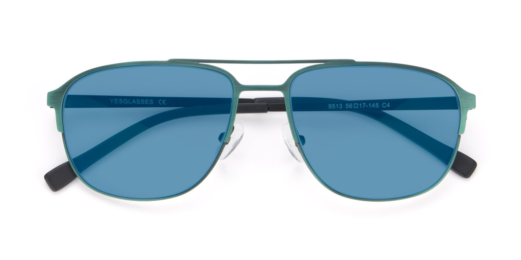 Folded Front of 9513 in Antique Green with Medium Blue Tinted Lenses
