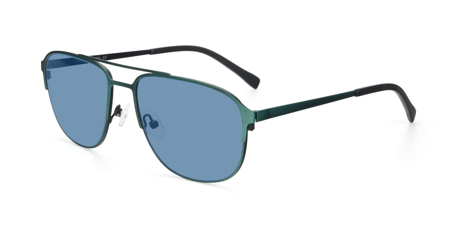 Angle of 9513 in Antique Green with Medium Blue Tinted Lenses