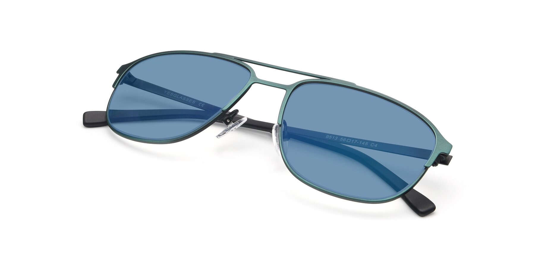 View of 9513 in Antique Green with Medium Blue Tinted Lenses