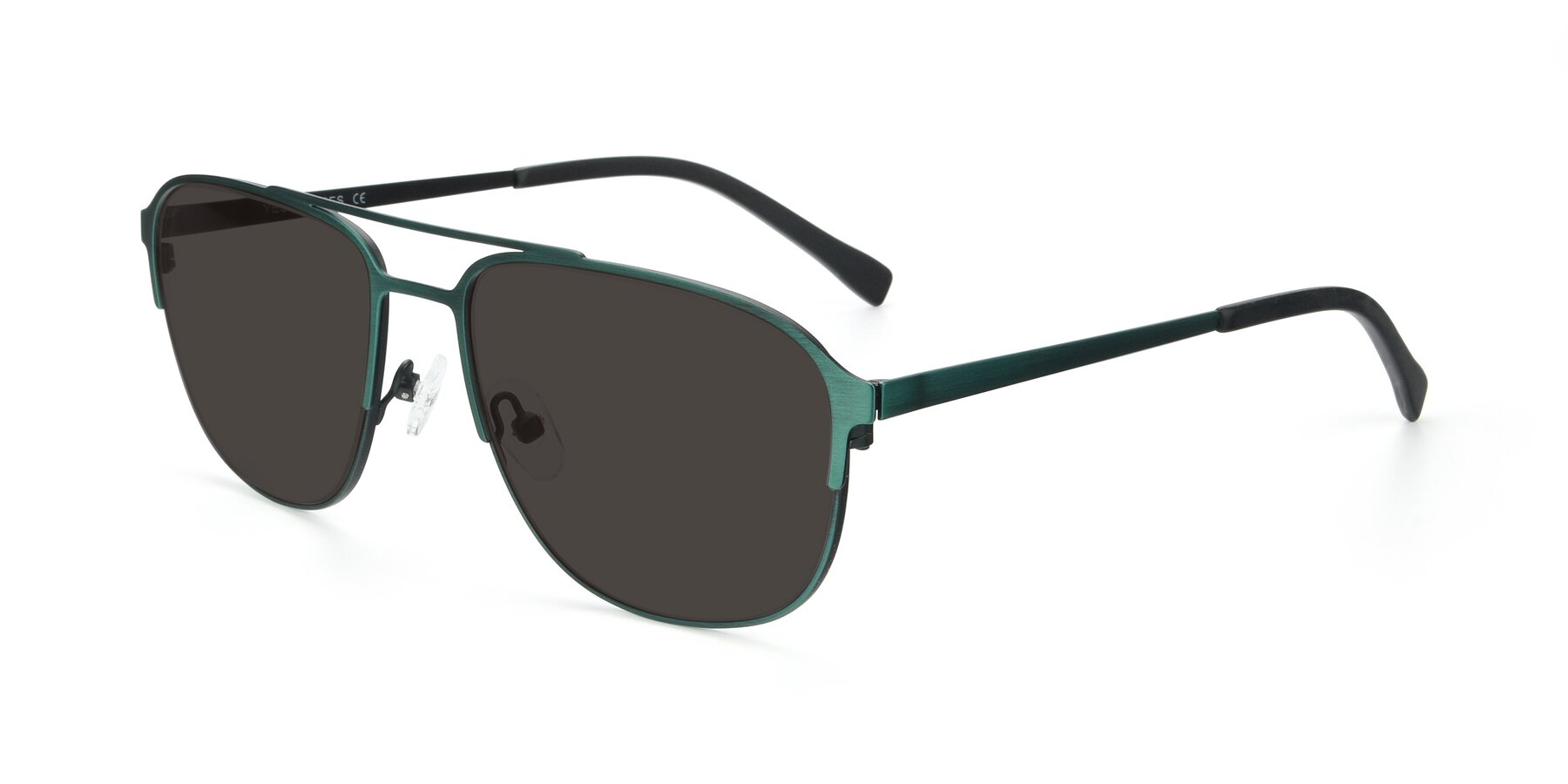 Angle of 9513 in Antique Green with Gray Tinted Lenses