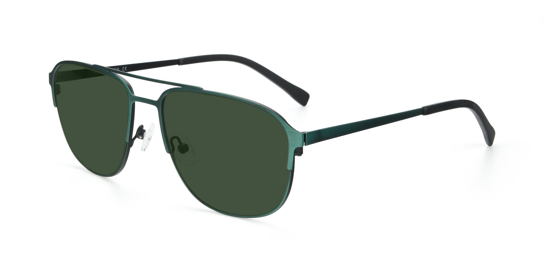 Angle of 9513 in Antique Green with Green Tinted Lenses