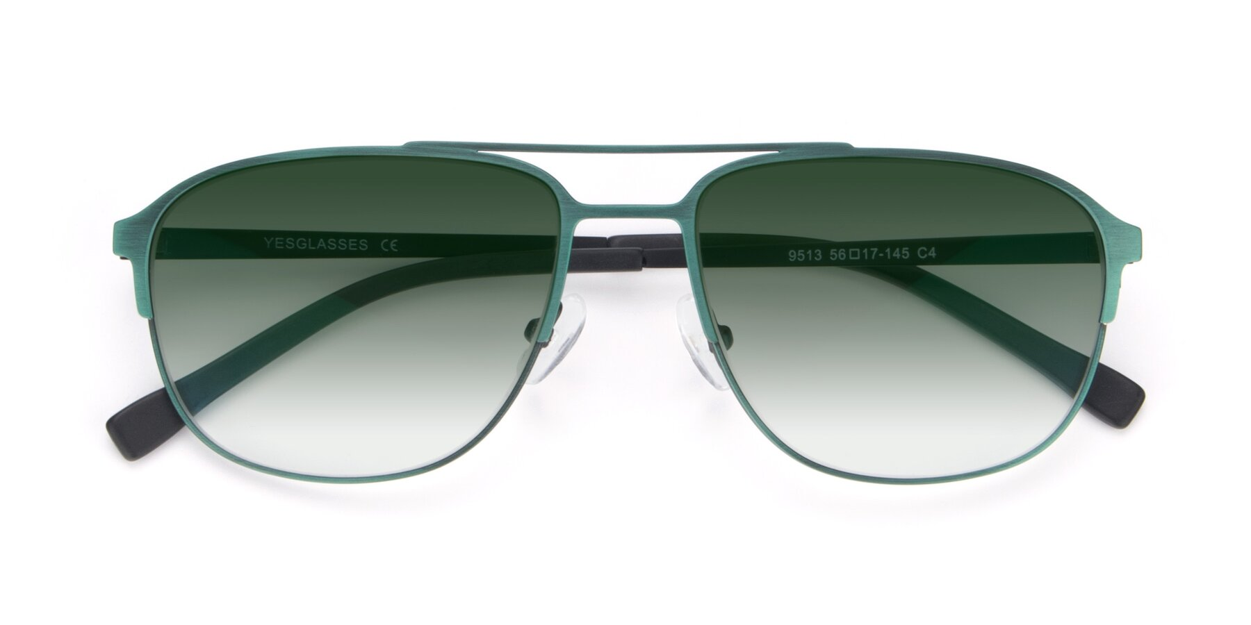 Folded Front of 9513 in Antique Green with Green Gradient Lenses