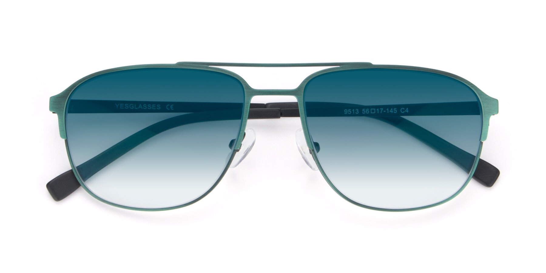 Folded Front of 9513 in Antique Green with Blue Gradient Lenses