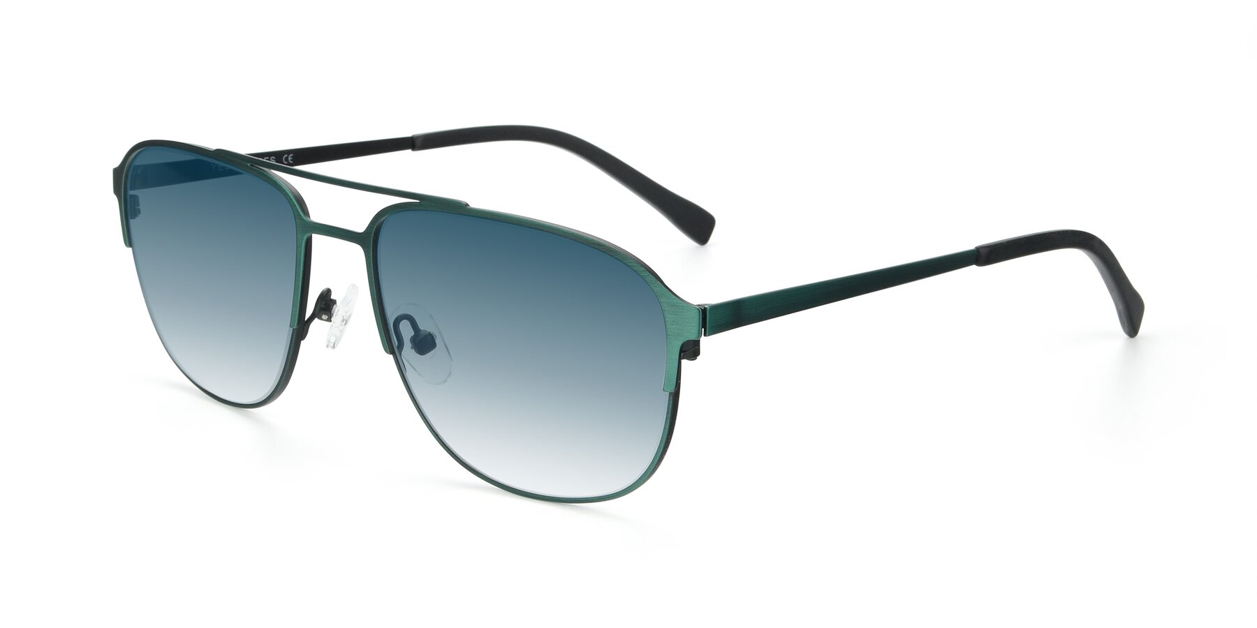 Angle of 9513 in Antique Green with Blue Gradient Lenses