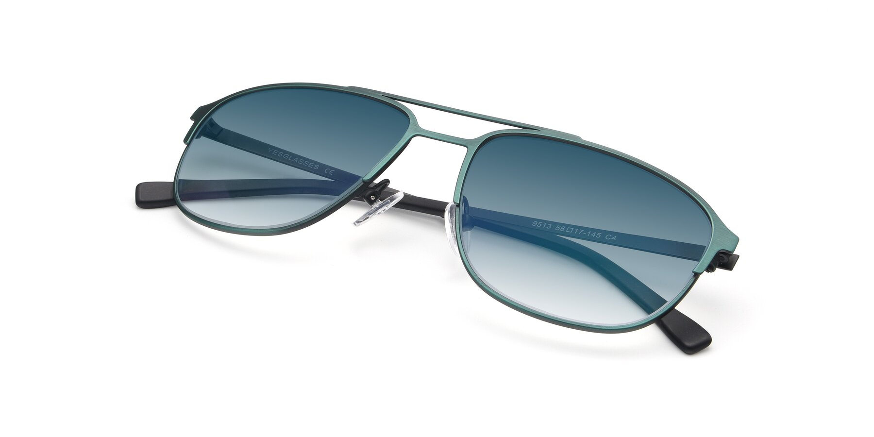 View of 9513 in Antique Green with Blue Gradient Lenses
