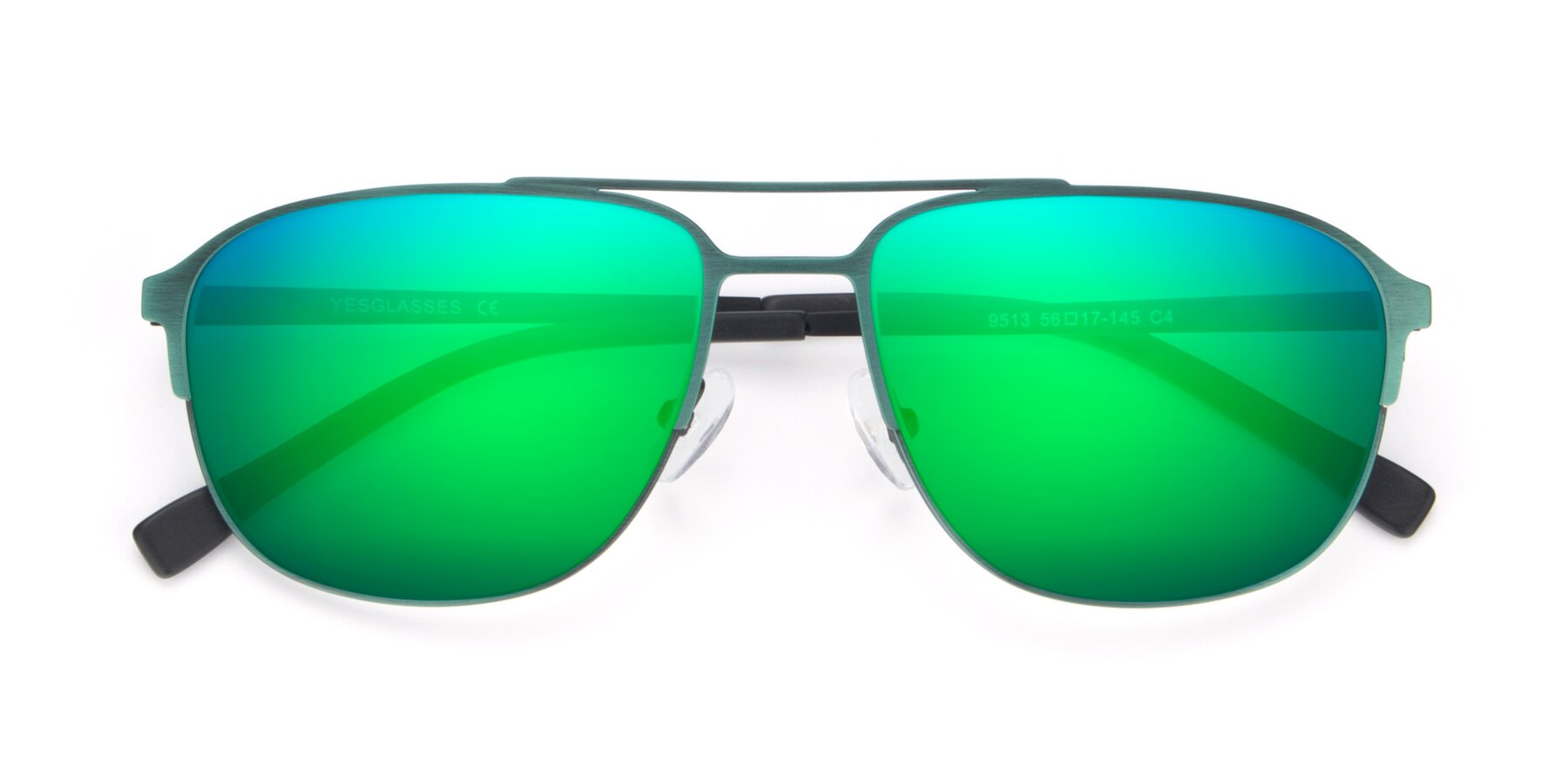 Folded Front of 9513 in Antique Green with Green Mirrored Lenses