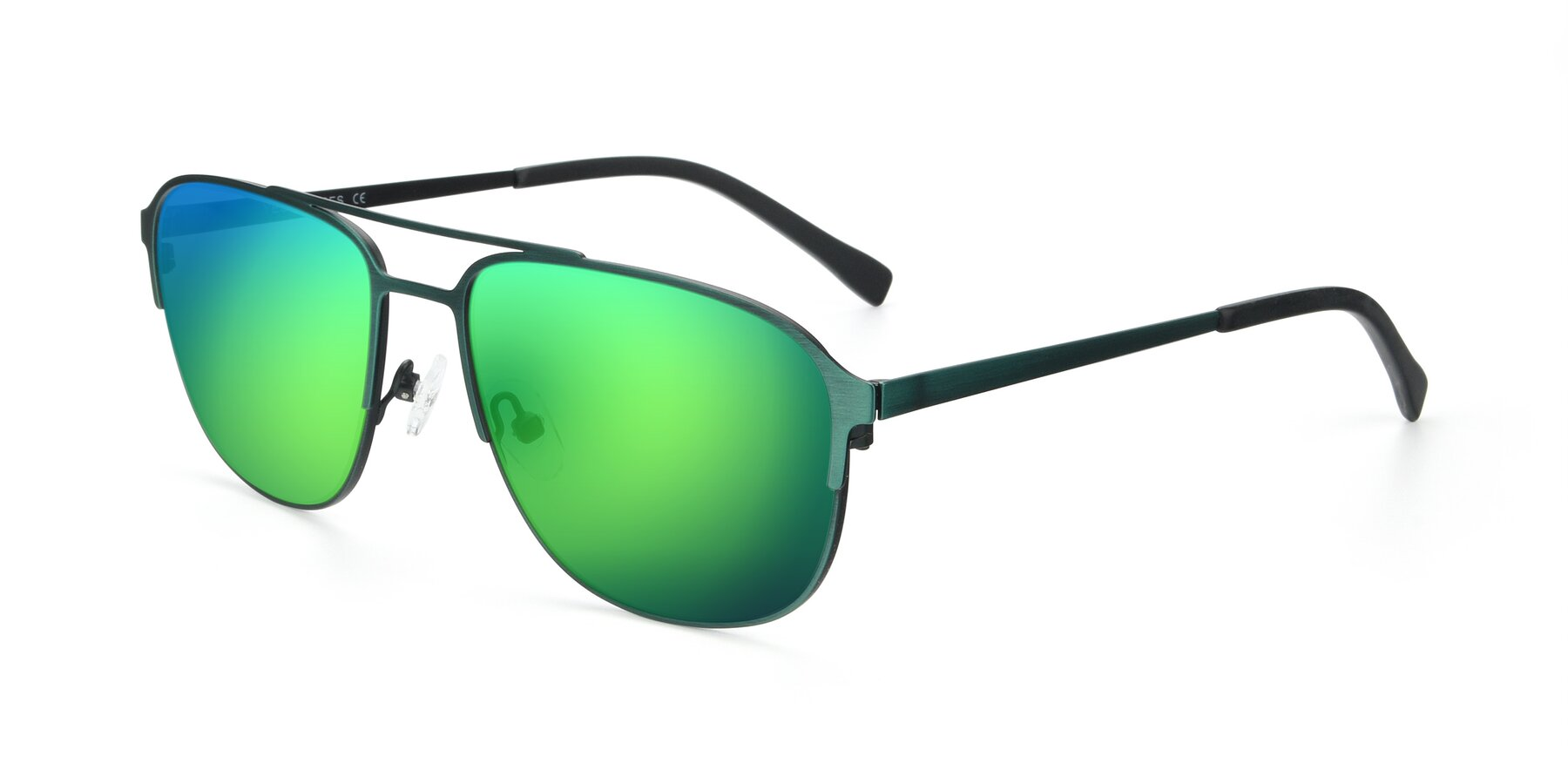 Angle of 9513 in Antique Green with Green Mirrored Lenses
