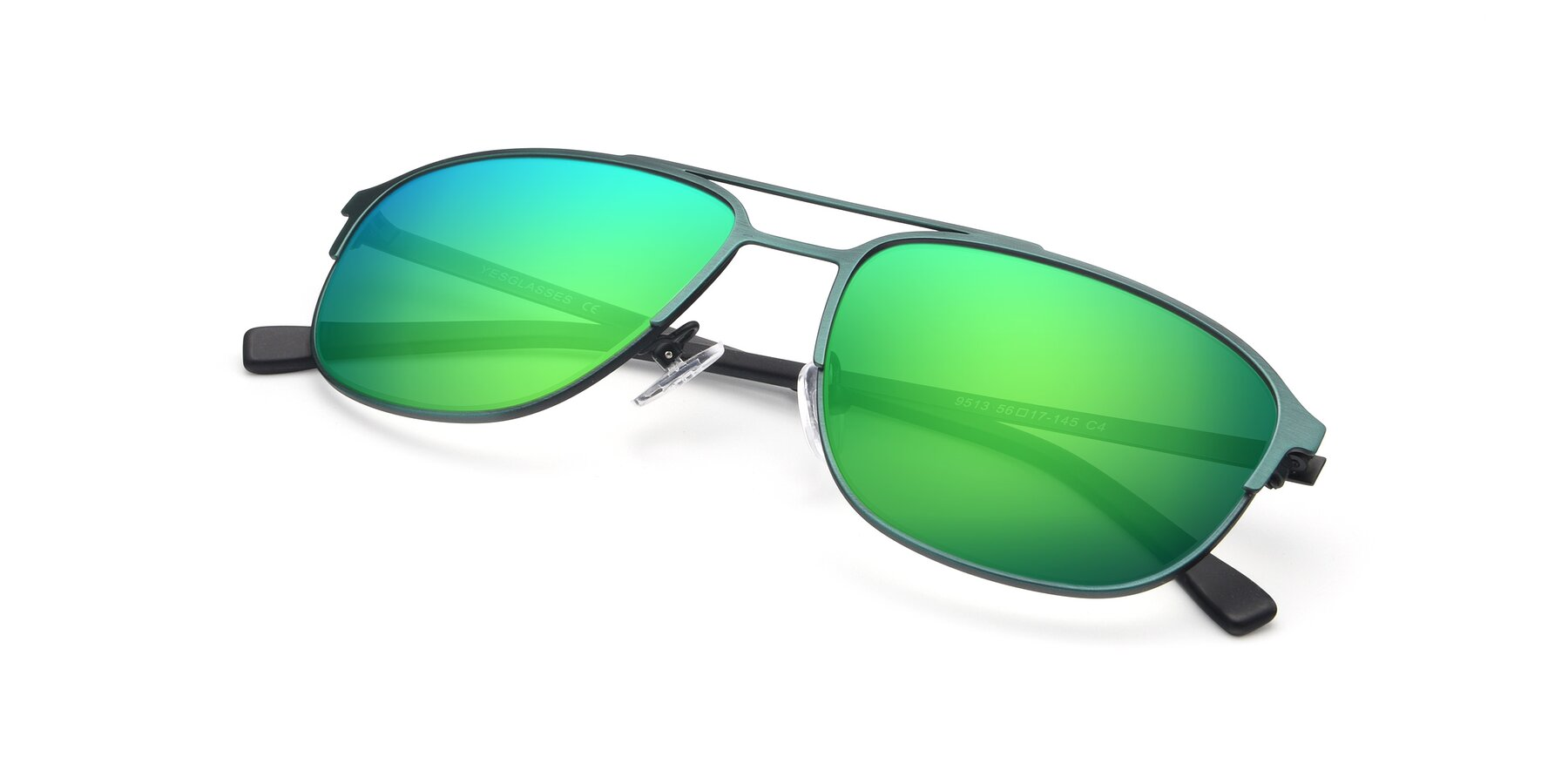 View of 9513 in Antique Green with Green Mirrored Lenses