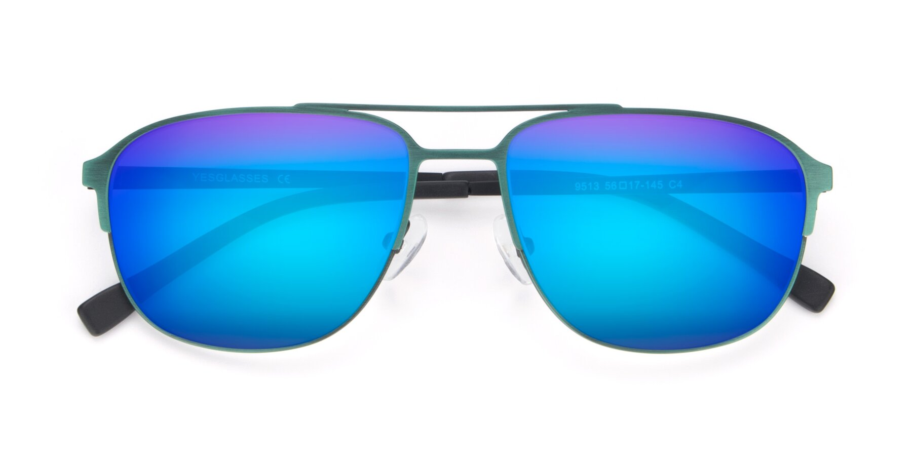 Folded Front of 9513 in Antique Green with Blue Mirrored Lenses