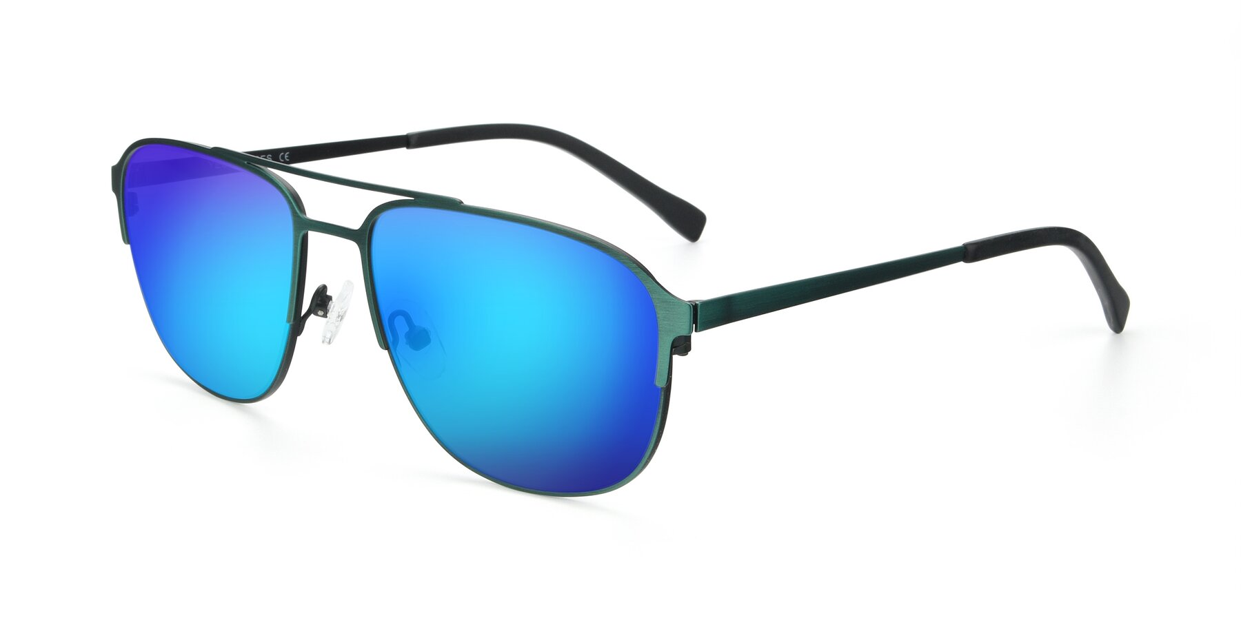 Angle of 9513 in Antique Green with Blue Mirrored Lenses
